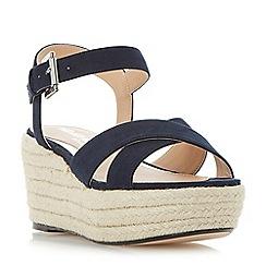 Head Over Heels by Dune - Navy 'Kyli' espadrille wedge sandals