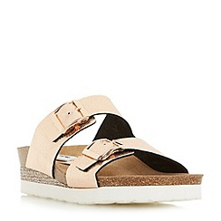 Dune - Rose 'Lucki' double buckle wedge footbed sandals