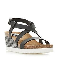 Dune - Black 'Katya' cross strap wedge footbed sandals