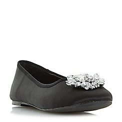 Head Over Heels by Dune - Black 'Hiya' brooch trim ballerina flat shoes