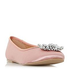 Head Over Heels by Dune - Pink 'Hiya' brooch trim ballerina flat shoes
