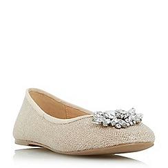 Head Over Heels by Dune - Gold 'Hiya' brooch trim ballerina flat shoes