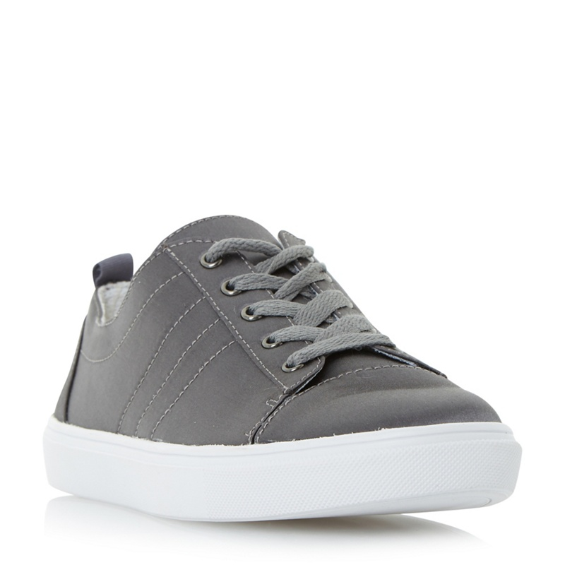 3f7b24a1d74 Head Over Heels by Dune - Grey  Eisha  Satin Lace Up Trainers ...