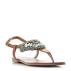 Head Over Heels by Dune - Tan 'Leia' bead and diamante detail toe post flat sandals