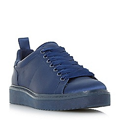 Dune - Navy 'Etch' satin lace up trainers