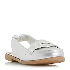 Head Over Heels by Dune - Silver 'Glyndas' slingback loafer shoes