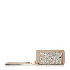 Dune - Taupe 'Kamela' double zip compartment purse