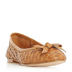 Dune - Tan 'Hillary' woven ballerina shoes