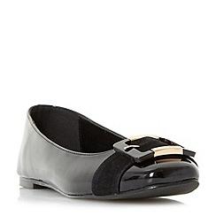 Dune - Black 'Heston' buckle ballerina shoes