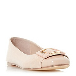 Dune - Natural 'Heston' buckle ballerina shoes