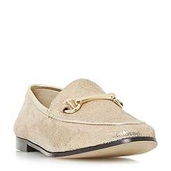 Dune - Gold 'Guilt' metal saddle trim loafer shoes