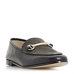 Dune - Black 'Guilt' metal saddle trim loafer shoes