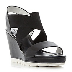 Dune - Black 'Kalifornia' white outsole cross strap wedge sandals