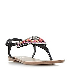 Head Over Heels by Dune - Black 'Leia' bead and diamante detail toe post flat sandals