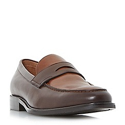 Dune - Brown 'Playa' seam detail penny loafers