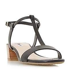 Dune - Black 'Issie' t-bar stacked heel sandals