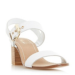 Dune - White 'Jany' block heel buckle sandals
