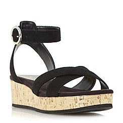 Dune - Black 'Kalipo' cross strap flatform sandals