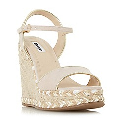 Dune - Light pink 'Krysie' high raffia wedge sandals