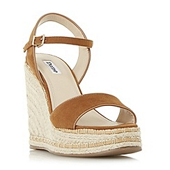 Dune - Tan 'Krysie' high raffia wedge sandals