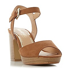 Head Over Heels by Dune - Tan 'Jewel' two part stacked heel sandals