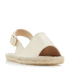 Head Over Heels by Dune - Gold 'Lavette' peep toe espadrille flat sandals