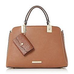 Dune - Tan 'Dillier' purse charm top handle bag