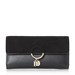 Dune - Black 'Kelsa' suede flap charm purse