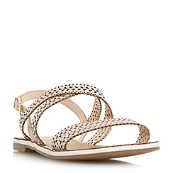 Dune - Pink 'Lilo' laser cut flat sandals