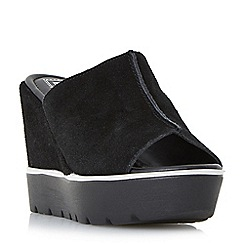 Dune - Black 'Kammi' platform mule wedge sandals