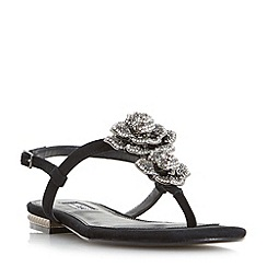 Dune - Black 'Mulligan' jewel floral brooch sandals