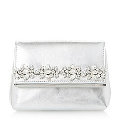 Dune - Silver 'Beyond' embellished fold over clutch bag