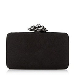 Dune - Black 'Bellflower' flower clasp clutch bag