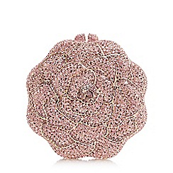 Dune - Pink 'Blessed' rose diamante clutch bag