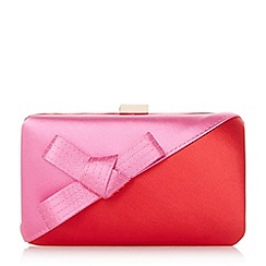 Dune - Red 'Berklay' bow colour block satin clutch bag