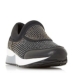 Dune - Black 'Echoes' embellished slip on trainers