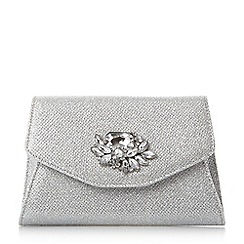 Head Over Heels by Dune - Silver 'Bintle' jewel flap over clutch bag