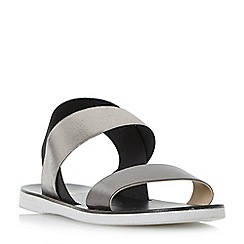 Dune - Black 'Lacer' elasticated strap flat sandals