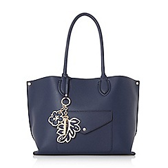 Dune - Navy 'Dockie' envelope pocket shopper bag