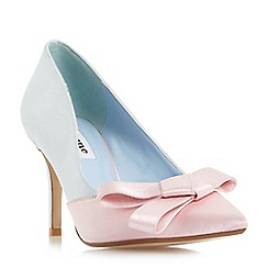 Dune - Blue 'Bowiee' two toned satin bow court shoes