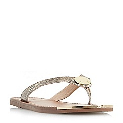 Dune - Natural 'Lagos' metal disc trim toe post sandals