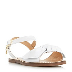 Dune - White 'Lettie' bow trim flat sandals