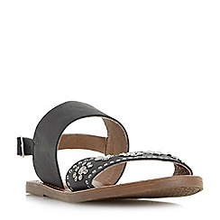 Dune - Black 'Luma' slingback stud and diamante flat sandals