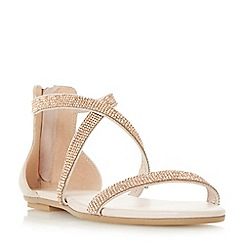 Dune - Light pink 'Niftey' cross strap flat sandals