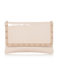 Dune - Natural 'Bairo' studded envelope clutch bag