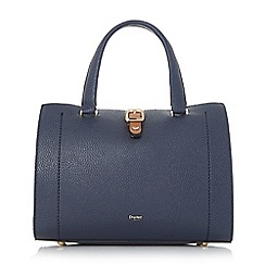 Dune - Navy 'Daphney' colour block buckle detail top handle bag