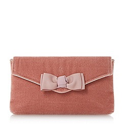 Dune - Rose 'Breya' grosgrain bow trim envelope clutch bag