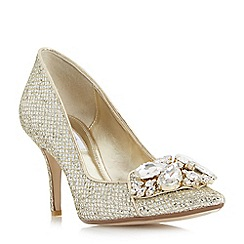 Dune - Gold 'Bironn' flower brooch trim court shoes
