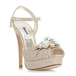 Dune - Light gold 'Marvelous' two part jewel broach platform sandals