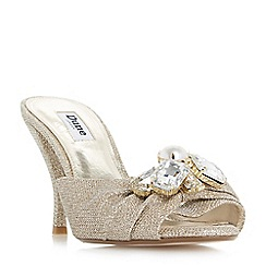 Dune - Light gold 'Meridian' jewel cluster trim mule sandals